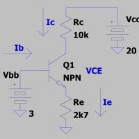 "Recta de carga de un transistor, punto ""Q"""